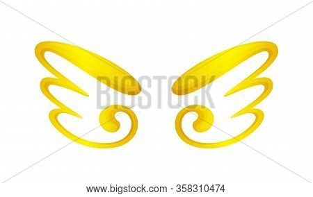 Angel Wings Icon Gold Isolated On White Background, Cute Cartoon Golden Wing Ornate, Clip Art Angel