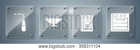Set Oven, Cookbook, Sauce Boat And Long Electric Lighter. Square Glass Panels. Vector