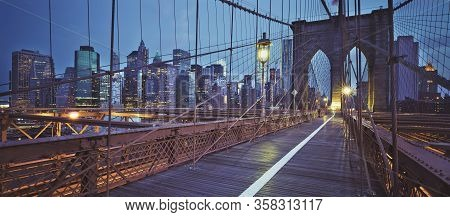 View From The Brooklyn Bridge, By Night, New York, Usa