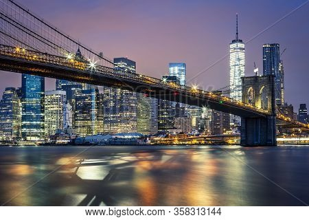 View Of Brooklyn Bridge By Night, New York, Usa