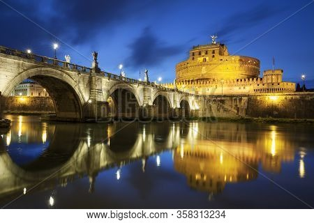Famous Bridge In Roma By Night, Italy