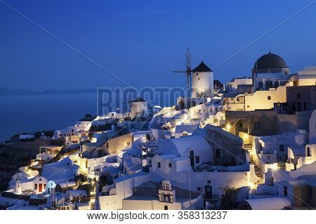 View Of Oia By Night, Santorini, Europe
