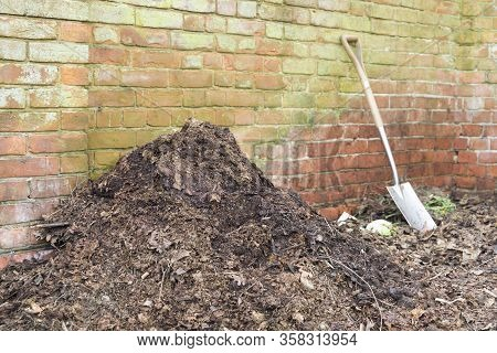 Homemade Garden Compost Heap With Leaf Mould For Use As A Mulch Or Organic Fertilizer, Uk