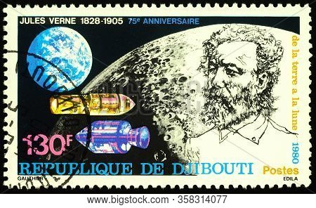Moscow, Russia - March 27, 2020: Stamp Printed In Djibouti Shows Jules Verne (1828-1905), French Nov