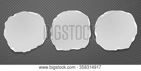 Piece Of Torn White Note, Notebook Paper Circles With Soft Shadow Stuck On Black Squared Background.