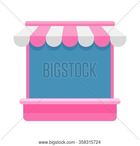 Icon Shop Storefront Pink Isolated On White, Market Store Shop With Awnings, Template Symbol Shop On
