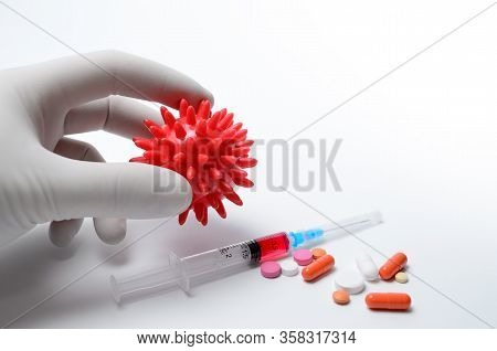 Injections And Medications For Treatment Of Diseases, Flu And Coronavirus Epidemics. Vaccine For Tre