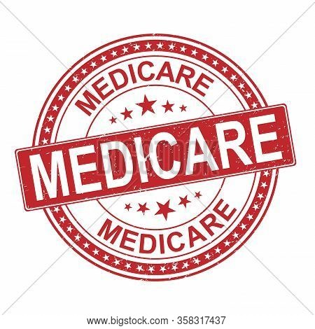 Medicare Universal Healthcare Campaign Stamp Flat Vector Label For Print And Websites