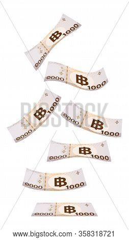 Flying Thai 1000 Baht Isolated On White, Banknote Money Falling From Top Image, Thai Currency One Th