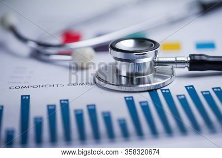 Stethoscope On Spreadsheet Paper, Finance, Account, Statistics, Investment, Analytic Research Data E