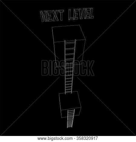 Next Level With High Giant Box Wall Towards The Sky With Clouds And Tall Ladders. Pass Challenge To