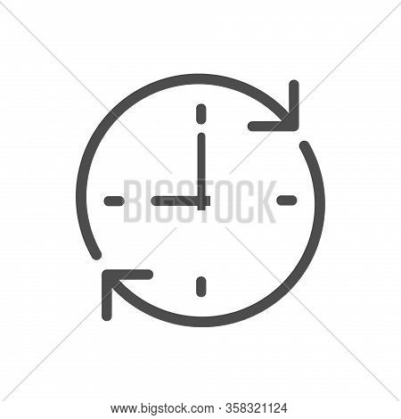 Time Clock Dial With Round Arrows Vector Icon For Web And Ui Design. Clock Dial Flat Icon Isolated O