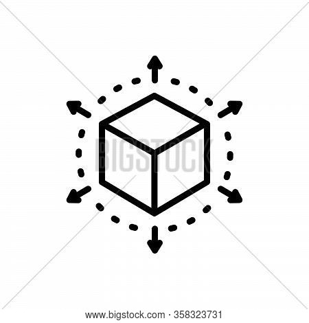 Black Line Icon For Perspective Cube Connection Geometry Viewpoint