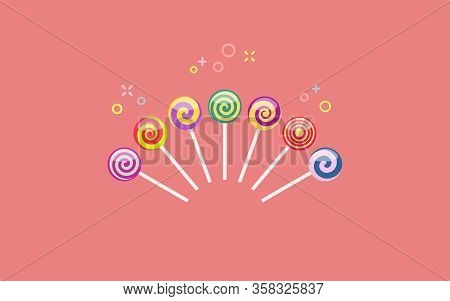Set Of Colorful Lollipop Sweet Candies With Spiral Patterns. Vector Illustration On Coral Background