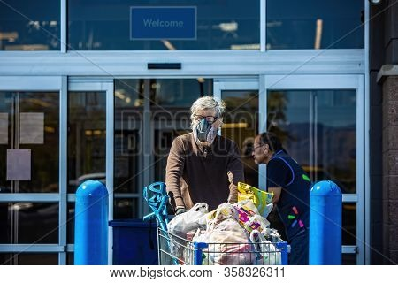 Tucson, United States  - March 29: Unidentified Man Wearing A Ventilator Mask Leaving A Retail Store