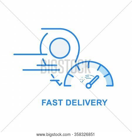 Fast Delivery And Speedy Shipping Icon - Location Marker And Speedometer