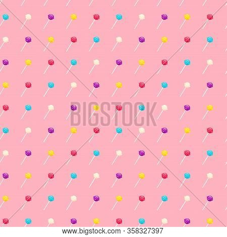 Seamless Pattern With Lollipop Sweet Candies. Vector Illustration
