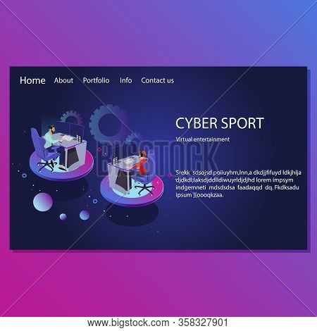 Cyber Sport Landing Page. Virtual Entertainment. Illustration Multiplayer And Cyber Competition, Gam