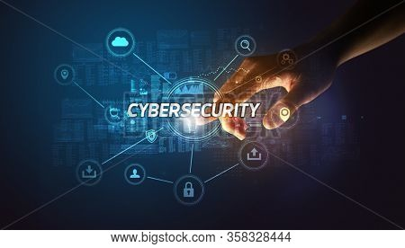Hand touching CYBERSECURITY inscription, Cybersecurity concept