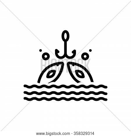 Black Line Icon For Fishing  Fishery Angling  Trawling Catch Aquatic Animal Fisherman Fishhook