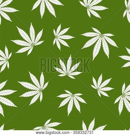 Cannabis Seamless Pattern. Marijuana Leaf, White Weed Plant. Hashish Texture, Isolated Green Backgro