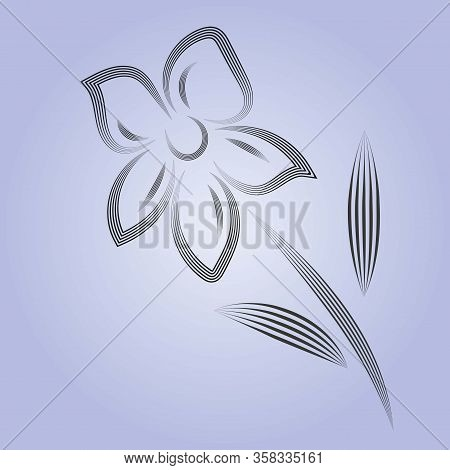 Vintage Flower, Great Design For Any Purposes. Abstract Illustration. Isolated Illustration White Ba