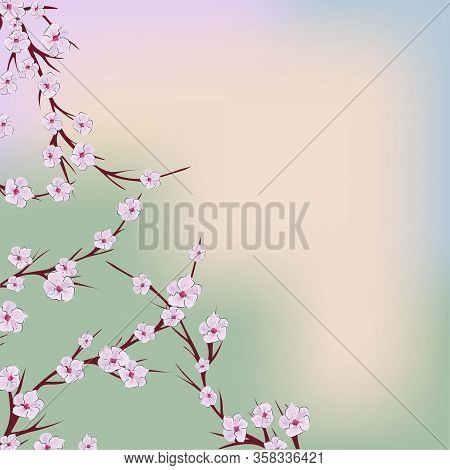 The Sakura Flowers, Great Design For Any Purposes. Nature Seamless Pattern. Japanese Illustration Wi