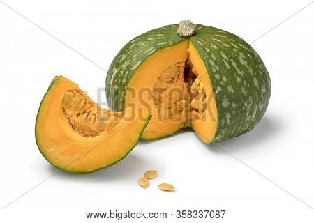 Fresh Kabocha winter squash and a piece isolated on white background