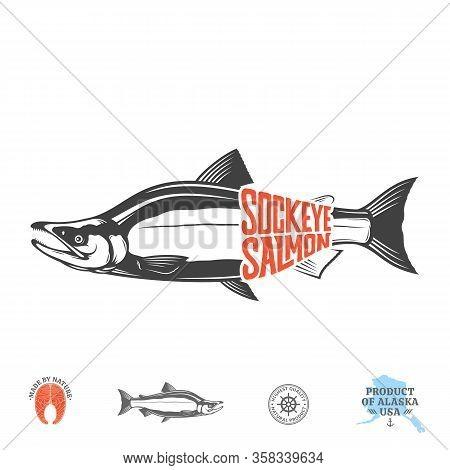 Vector Sockeye Salmon Label