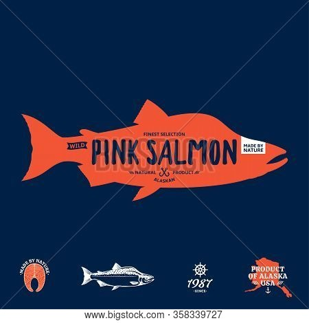 Vector Wild Alaskan Pink Salmon Label