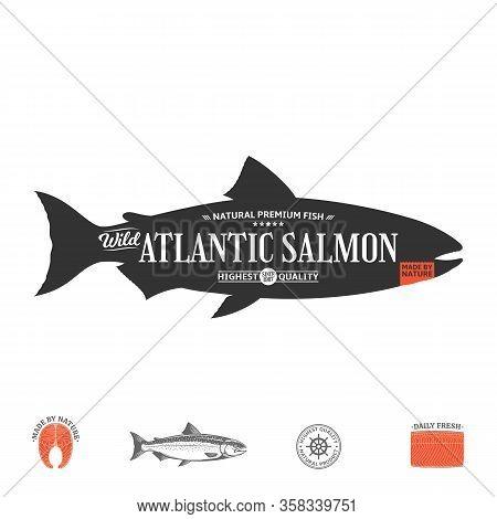 Vector Wild Atlantic Salmon Label