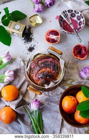 Blood Orange Earl Grey And Cardamom Bun...vintage Style.selective Focus