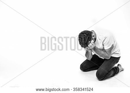 Young Man Isolated Over Background. Picture Of Man In Depression And Desperate State. Heartbroken Br