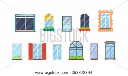 Set Of Realistic Glass Transparent Plastic Windows With Window Sills. Vector Collection Of Various T