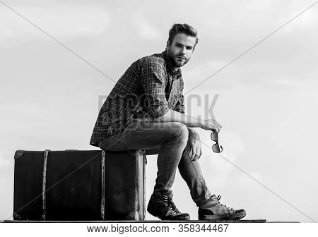 Business Trip. Handsome Guy Traveler. Guy Outdoors With Vintage Suitcase. Luggage Concept. Travel Wi