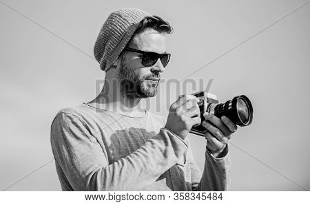 Professional Photographer. Handsome Photographer Guy Retro Camera. Photojournalist Concept. Guy Phot