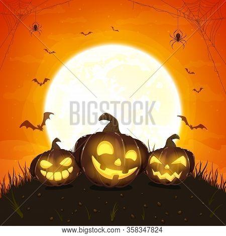 Dark Halloween Pumpkins With Spiders On Orange Background