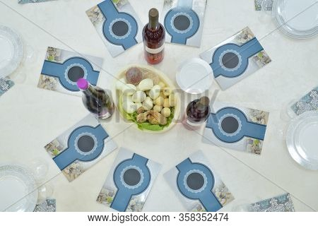 Passover Traditions, Seder. Passover Meal. Jewish Traditions. Reserved Table For Passover.