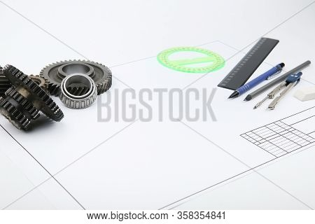 Education Concept. Composition With Drafting Accessories And Drafting Paper With Copy Space
