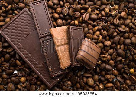 Chocolate On Coffee Beans