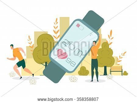 Using Fitness Tracker For Successful Workout. Man Hold Large Electronic Device That Show Amount Dist
