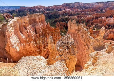 View Of Amazing Hoodoos Sandstone Formations In Scenic Bryce Canyon National Parkon On A Sunny Day.