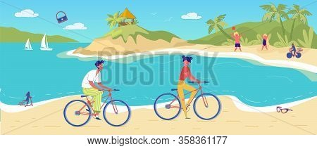 Man And Woman Cycling In Tropical Sand Beach. Young People Friend Riding Bicycle. Children Playing B