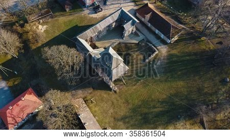 Latvia, Limbazi Medieval Castle Ruins. Aerial View Of The 13 Th Century Castle. Stone Ruins With New
