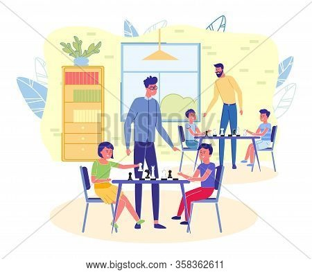 Children Chess Club Or School Interior Background. Kids Cartoon Characters Playing Chess Under Teach