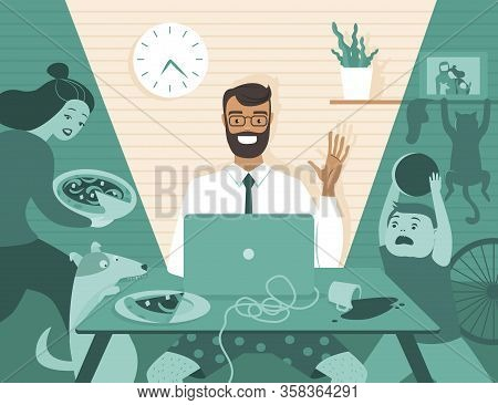 Dad Freelancer Have Business Video Call On His Laptop While His Family At Home. Distance Working At