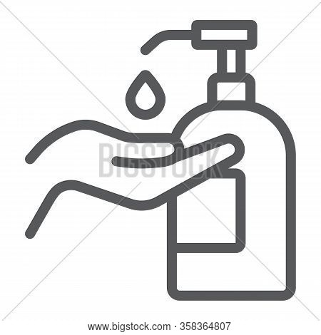 Disinfection Soap With Hand Line Icon, Wash And Hygiene, Hand Soap Sign, Vector Graphics, A Linear P