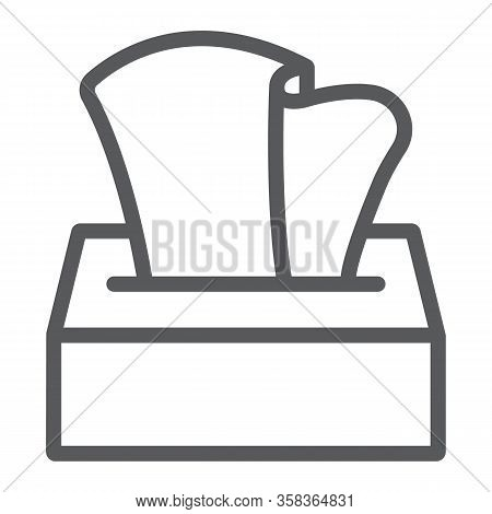 Tissue Napkin Box Line Icon, Wash And Hygiene, Hand Tissues Sign, Vector Graphics, A Linear Pattern