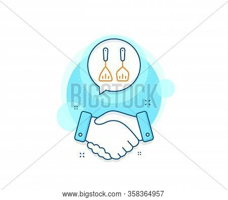 Kitchen Accessories Sign. Handshake Deal Complex Icon. Cooking Cutlery Line Icon. Food Preparation S