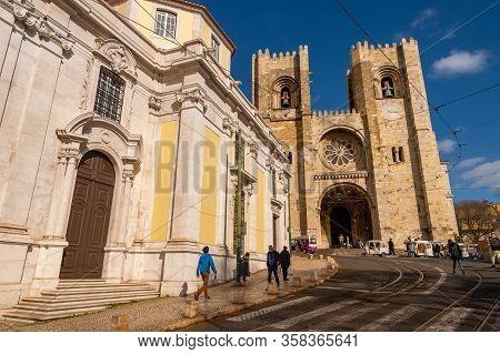 Lisbon, Portugal - 2 March 2020: Lisbon Cathedral (se De Lisboa)